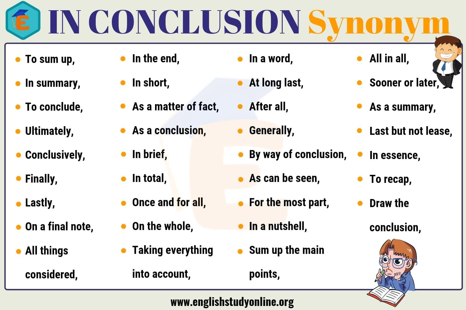 In Conclusion Synonym 30 Useful Synonyms For In Conclusion English Study Online Conclusion Words Writing Words Good Essay 'conclude' also found in these entries (note: useful synonyms for in conclusion
