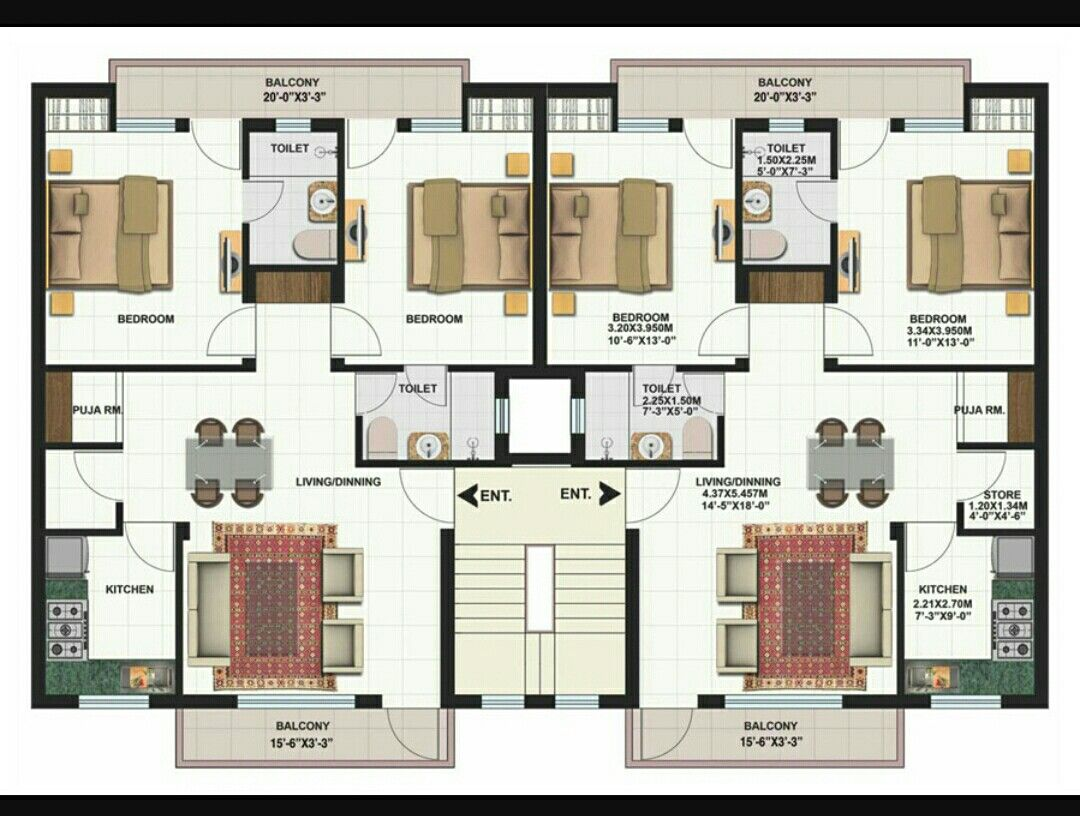 Two Bedrooms Residential Building Plan Architectural Floor Plans Building Plans House