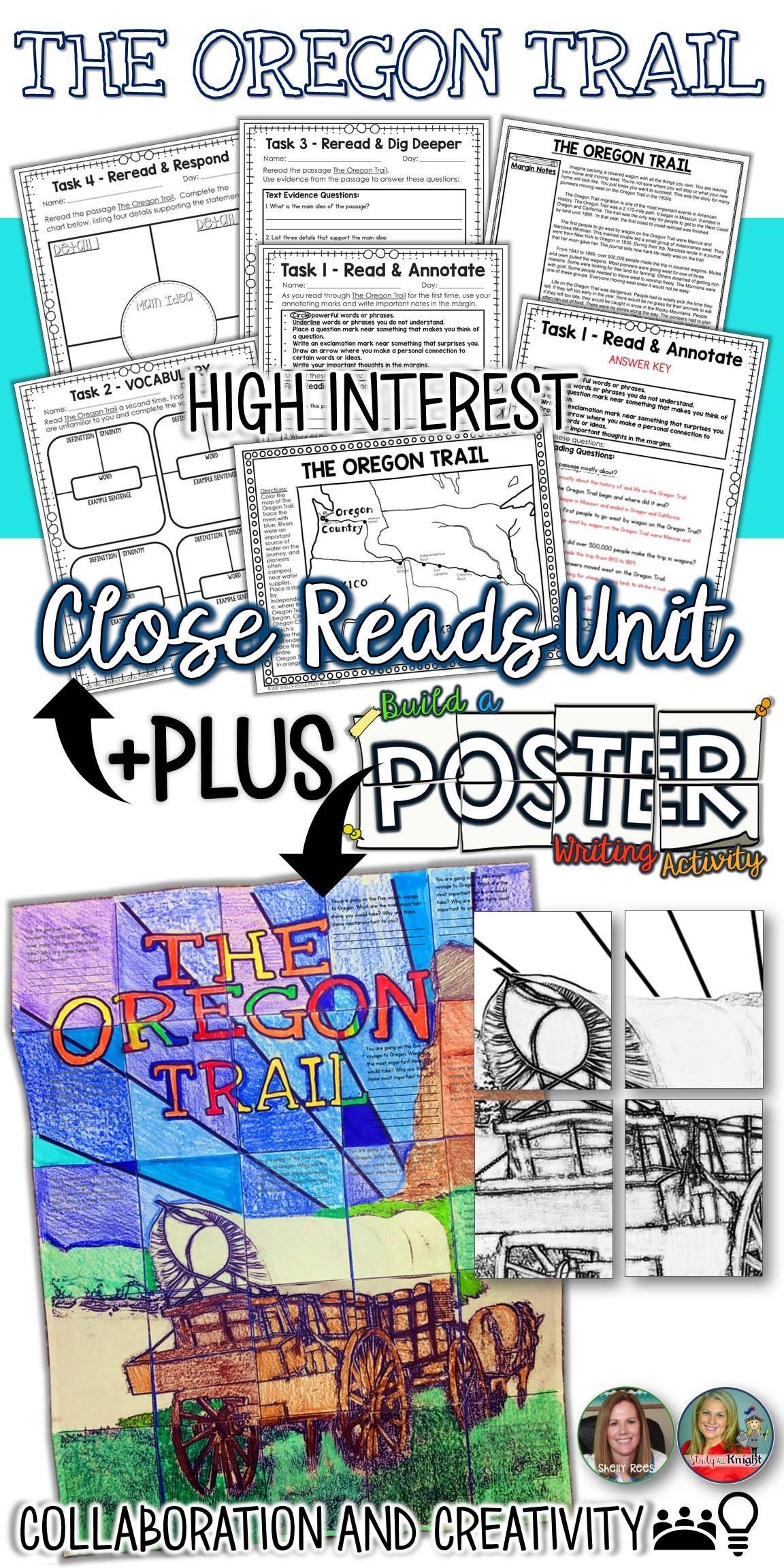 Oregon Trail Close Reads Unit Collaborative Poster