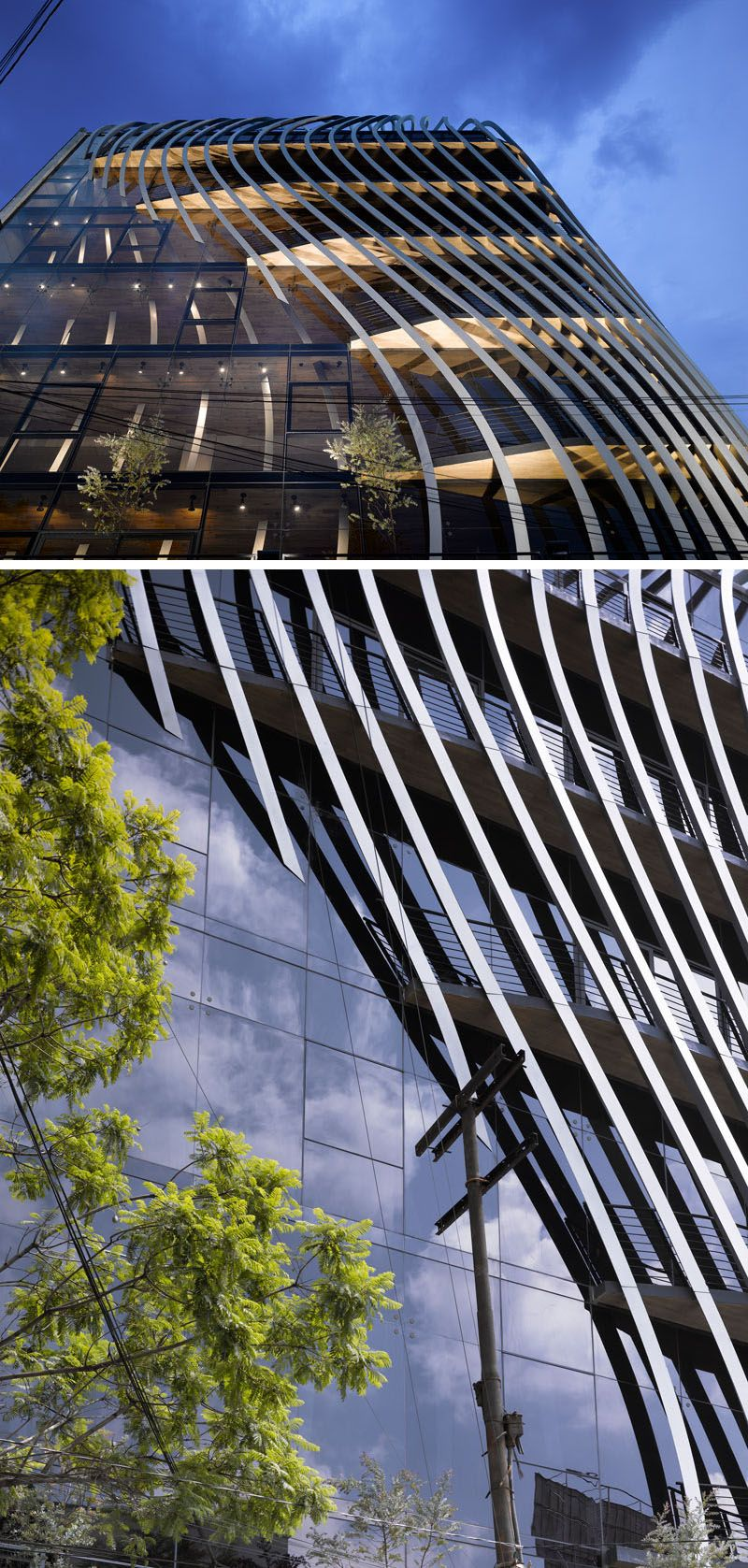 272 metal fins are featured throughout this new commercial building