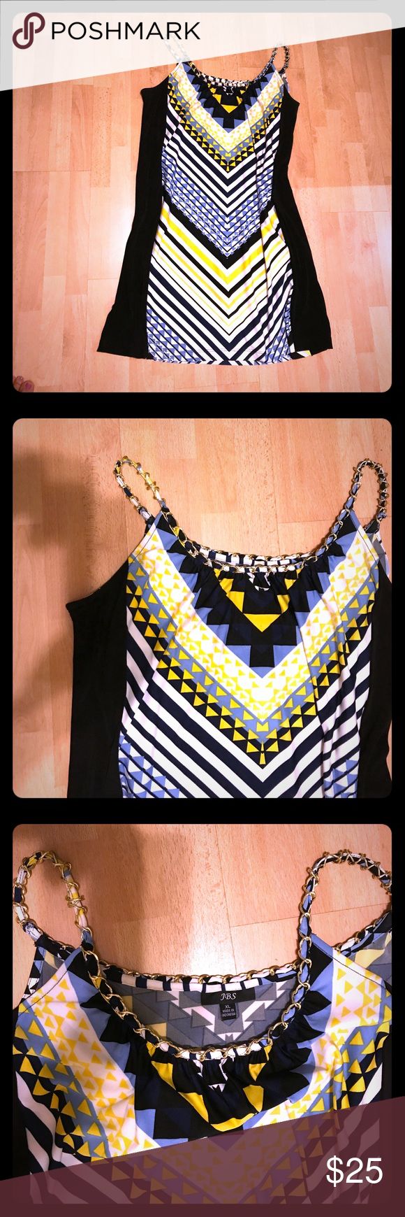 Summer dress Summer is here! Nice yellow, white, light blue and navy blue dress.  Front and back the same. Nice touch on the chains around the neckline and straps. Polyester Dresses Midi