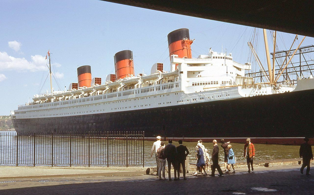 New York. The Queen Mary at what looks like Pier 86, West