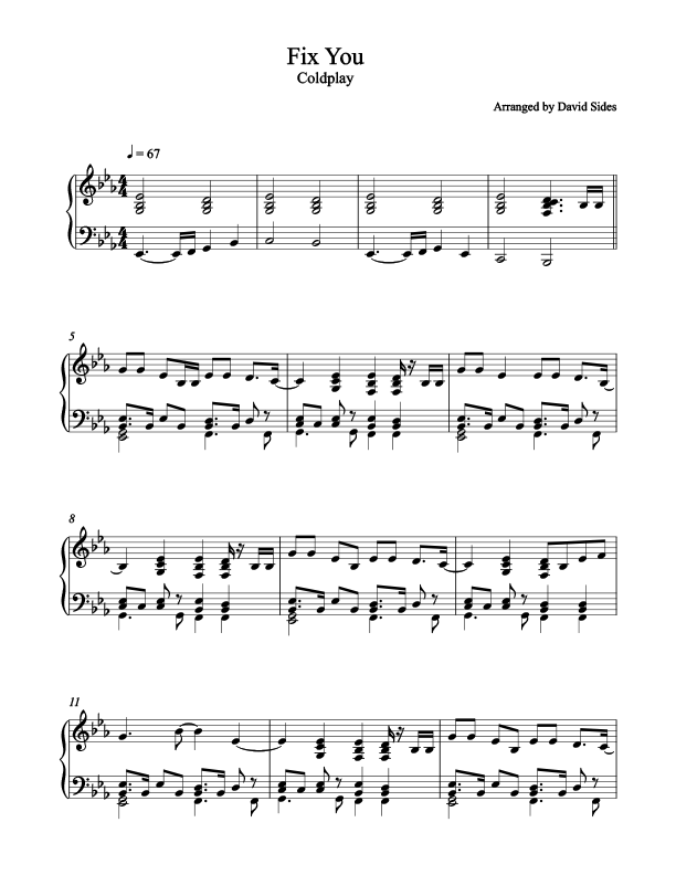 Luxury Coldplay Fix You Piano Chords Ideas - Song Chords Images ...
