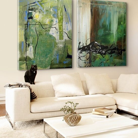 Luxurious Neutral Living Room With Green Abstract Art Green Art Painting Abstract Abstract Art Painting