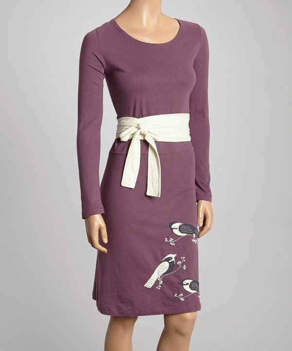 Another great find on #zulily! Mauve & White Winter Bird Kimon Belted Dress by Synergy Organic Clothing #zulilyfinds