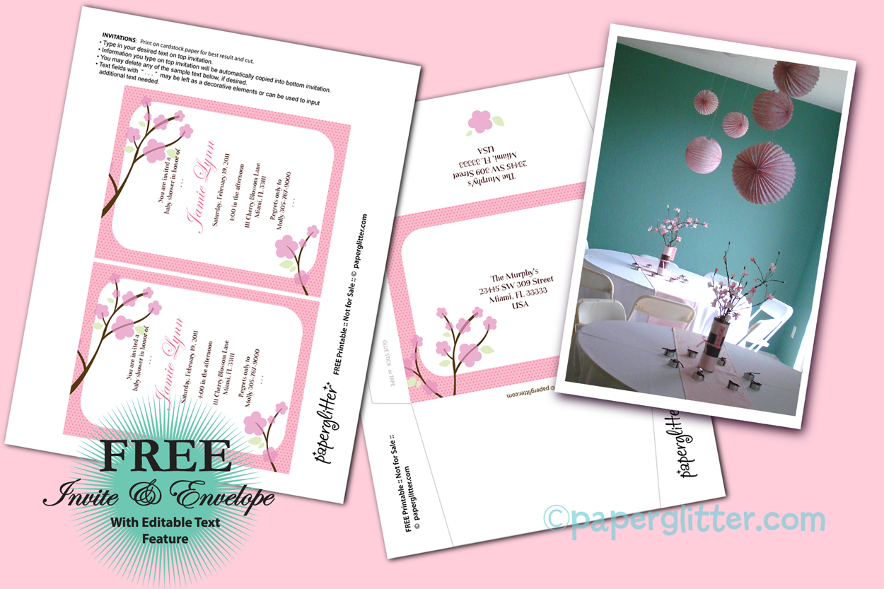 Cherry Blossom with Free Printable invites | Baby shower | Pinterest ...