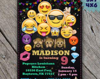 Emoji Invitations Emoji Birthday Invitations by BeautyDesignStudio