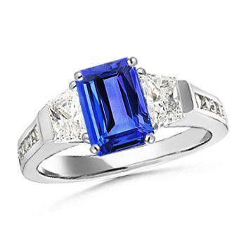 Angara Emerald-Cut Sapphire Engagement Ring with Diamond in Platinum Y5NZekDCJR