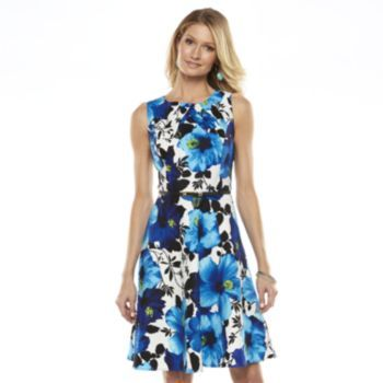 Ab Studio Floral Pleated A Line Dress Women S Things To Wear