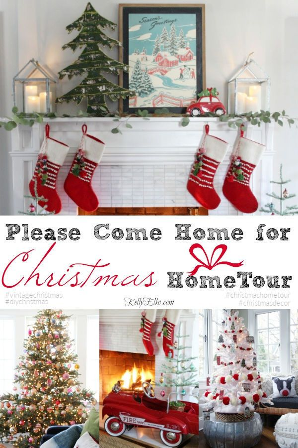 Please Come Home for Christmas Home Tour - so many creative Christmas decorating and DIY ideas kellyelko.com #christmas #christmasdecor #christmasdecoratingideas #christmasmantel #christmastrees #christmasgarland #christmasart #christmasstockings #vintagechristmas #kidschristmas #diychristmas #kellyelko