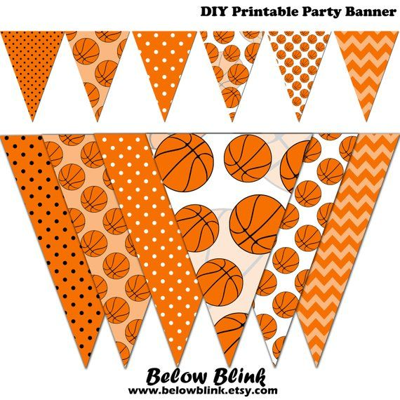 picture relating to Printable Basketball Pictures titled Basketball Banner, Child Shower Printable Banner, Basketball