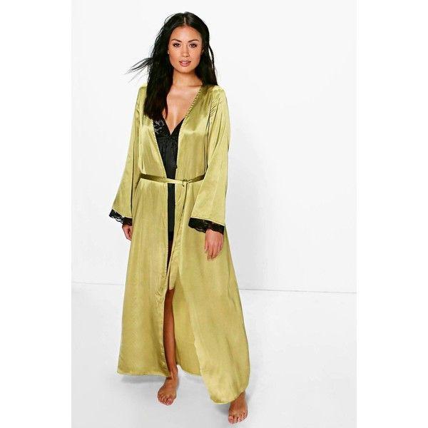 Boohoo Ellie Lace Sleeve Satin Maxi Kimono Robe (€23) ❤ liked on ...