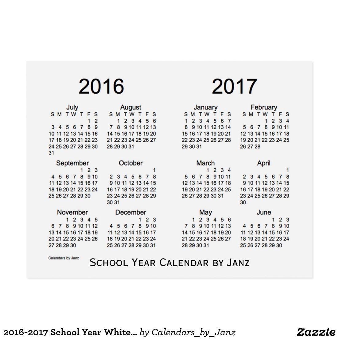 2016-2017 School Year White Smoke Calendar by Janz Postcard