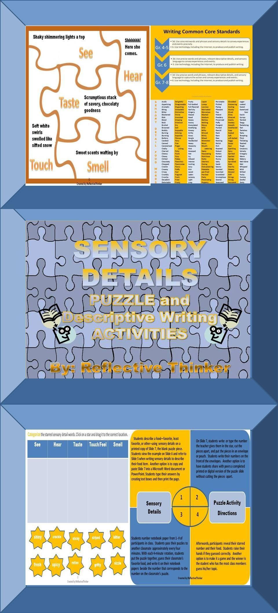Sensory Detail Puzzle And Descriptive Writing Activities Common