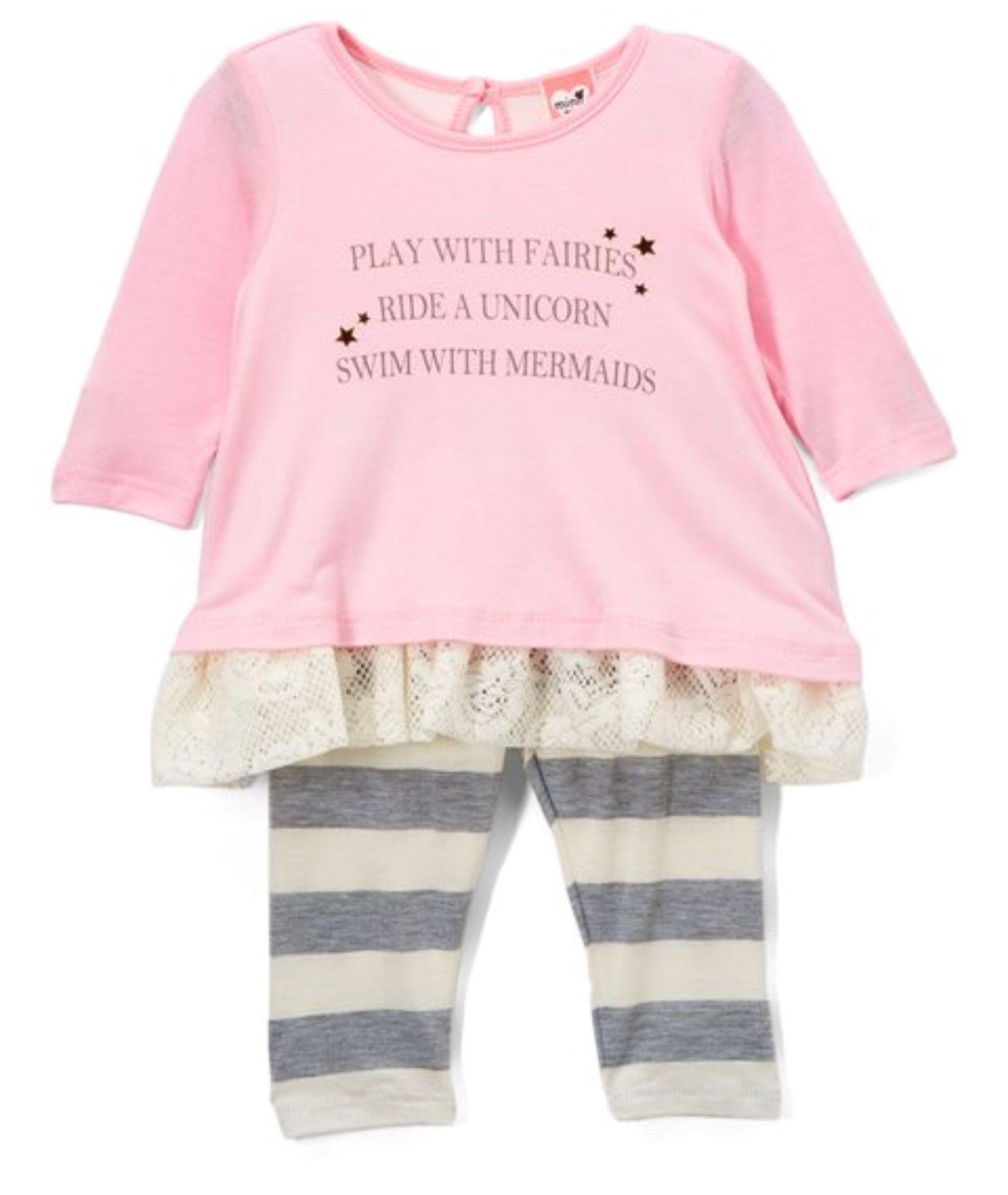 mini mini Pink Fairies Heart of Gold Top & Leggings Infant