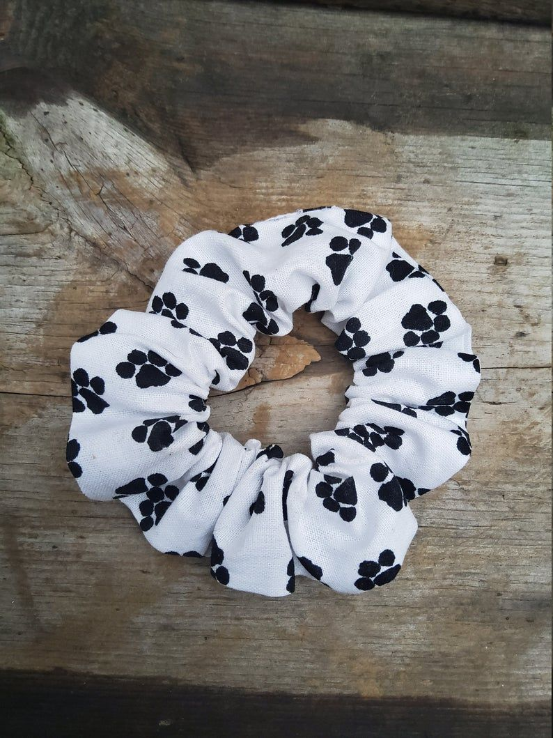 Paw Print Hair Scrunchie Scrunchies Hair Scrunchy Top Knot Hair Tie Gentle Hair Elastic Hair Accessory Handmade #hairscrunchie