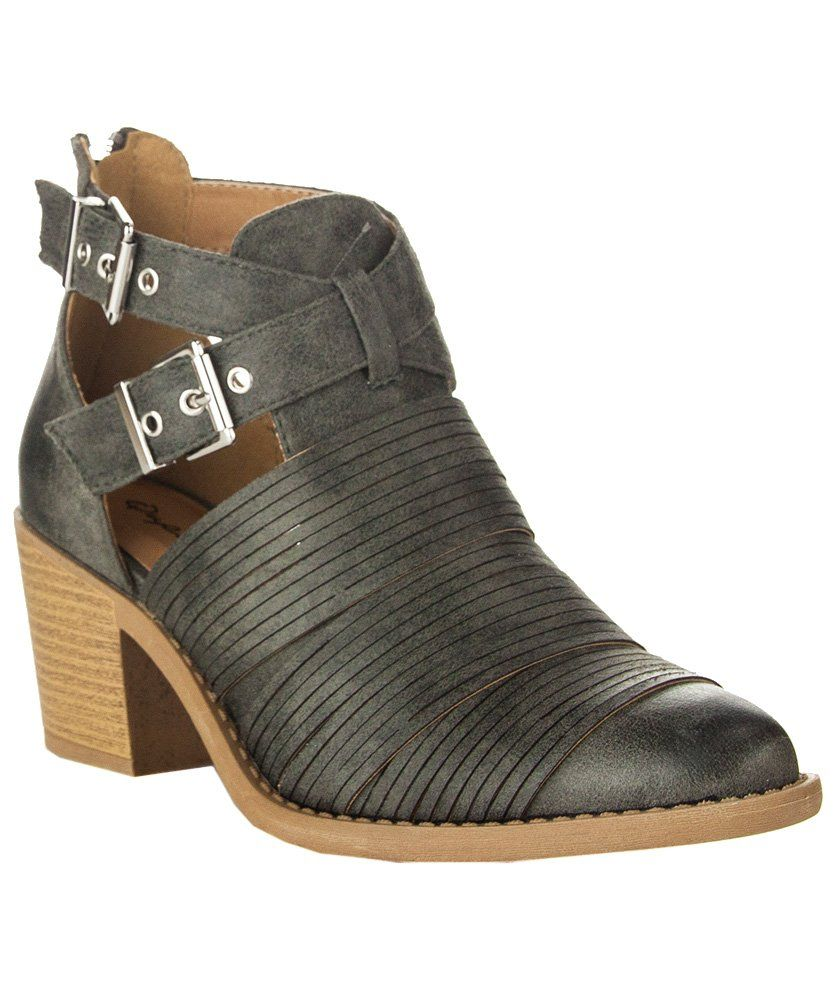 Women's Strappy Cut Out Distressed Finish Design Stacked Low Heel Ankle Bootie