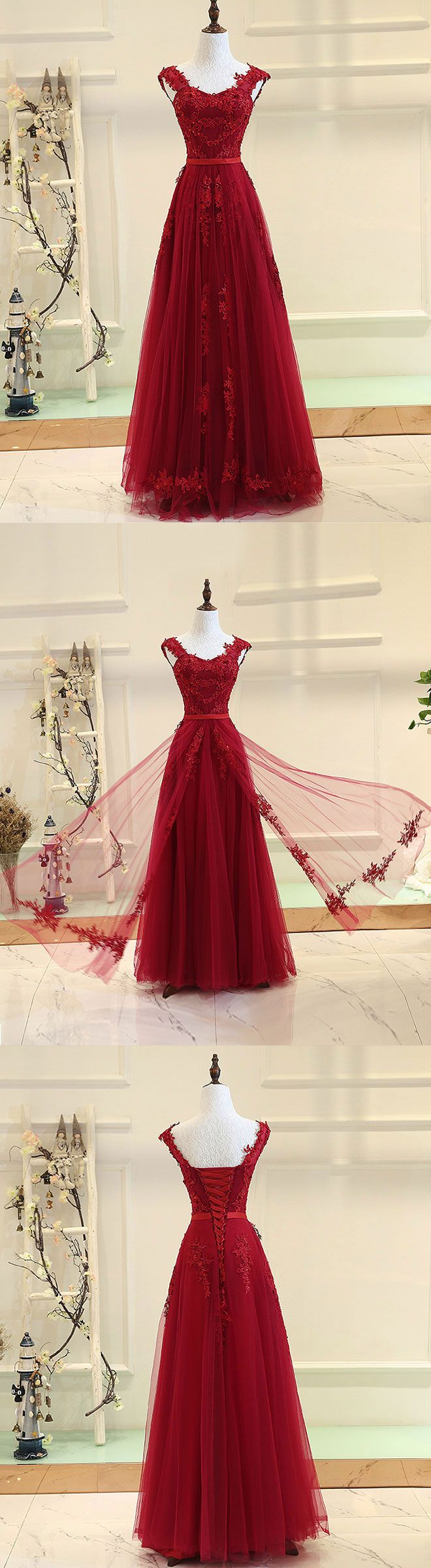 Burgundy sweetheart neck long prom dress burgundy evening dress