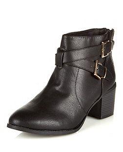b973cc7e4e4d Wide Fit Black Block Heel Ankle Boots