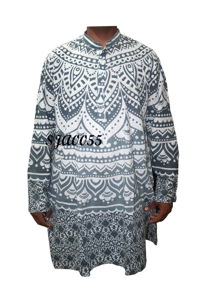 cf8b389fa27 3XL 4XL 5 XL 6XL Indian Men's Casual Shirts 100% Cotton Kurta Solid Color  Print #Handmade #ButtonFront