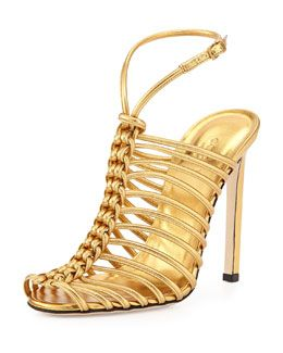 6b3ff44121a S03VQ Gucci Strappy Knotted Metallic Sandal