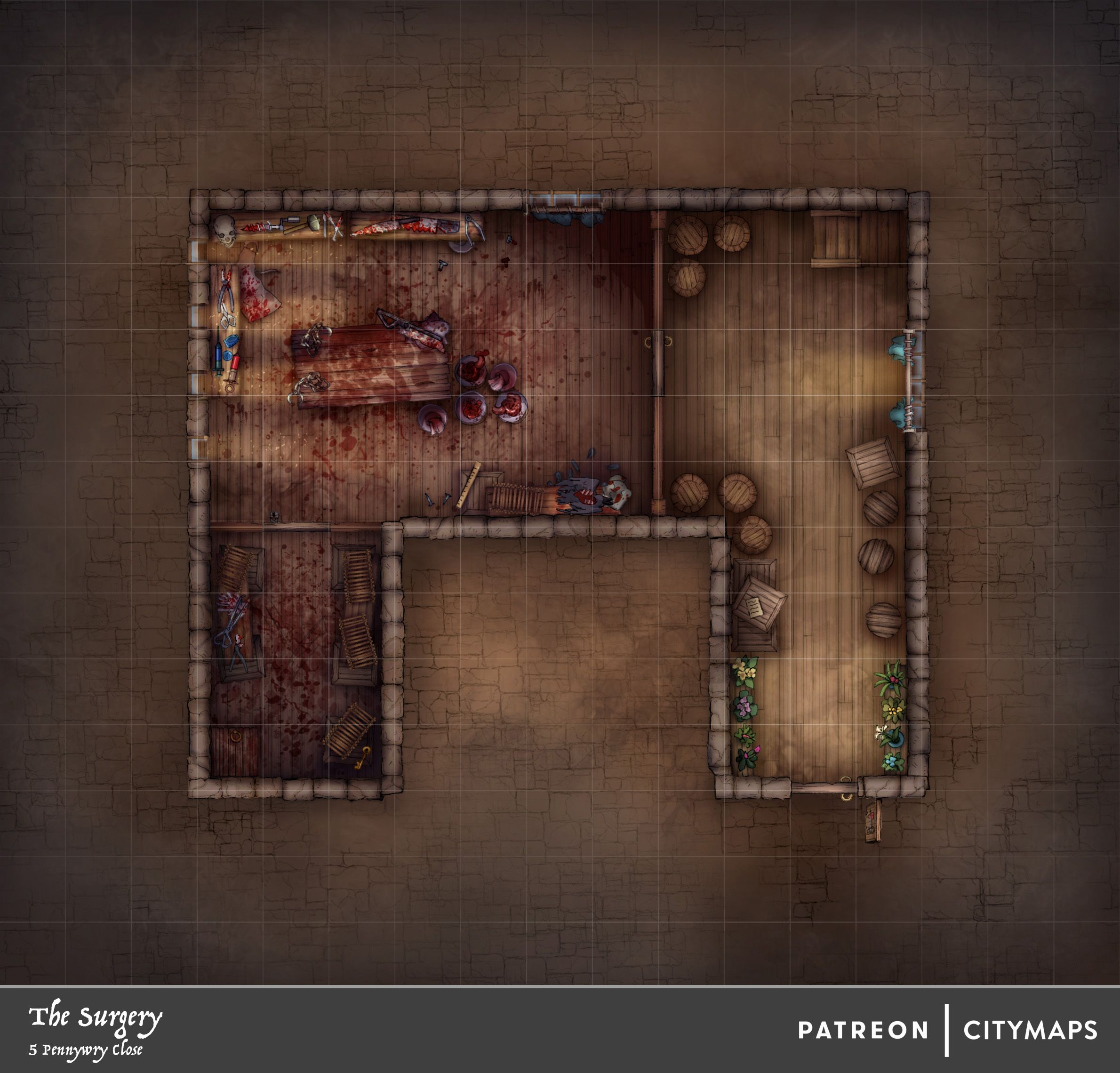 The Surgery - 5 Pennywry Close | D&D maps in 2019 | Fantasy