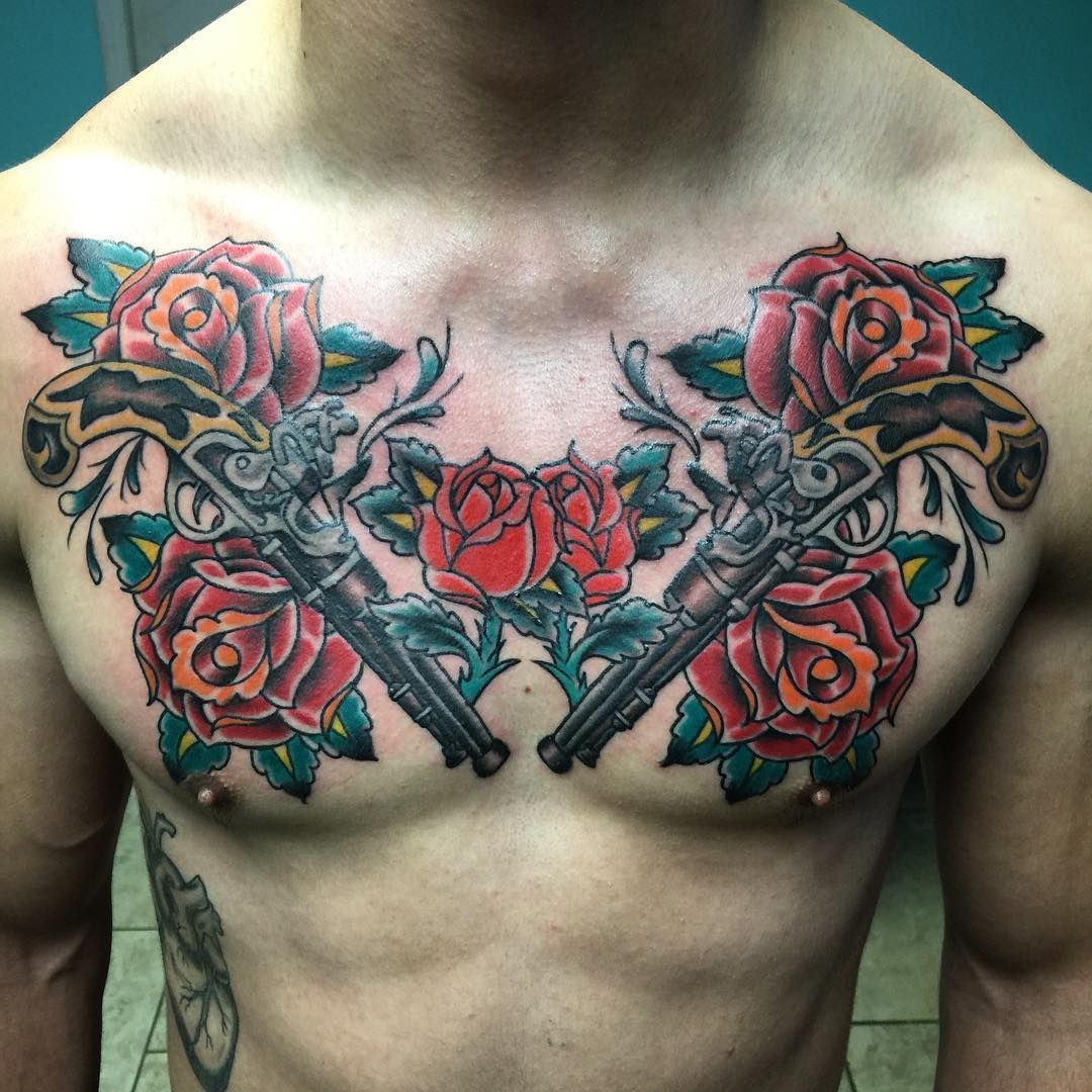 Photo By Allinyerskin On Instagram Chestday Chesttattoo Guns Roses Funtattoo Bright And Bold Builttolas Chest Tattoo Tattoo Style Cool Tattoos