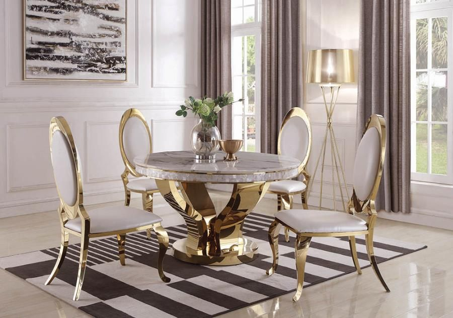 190381 5 Pc Kendall Gold Stainless Metal Base Round Marble Top Dining Table Set Gold Dining Room Gold Round Dining Table Dining Table Gold