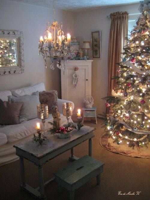 Shabby Vintage Christmas Love The Coffee Table And Stool Chandelier Hanging Over Them