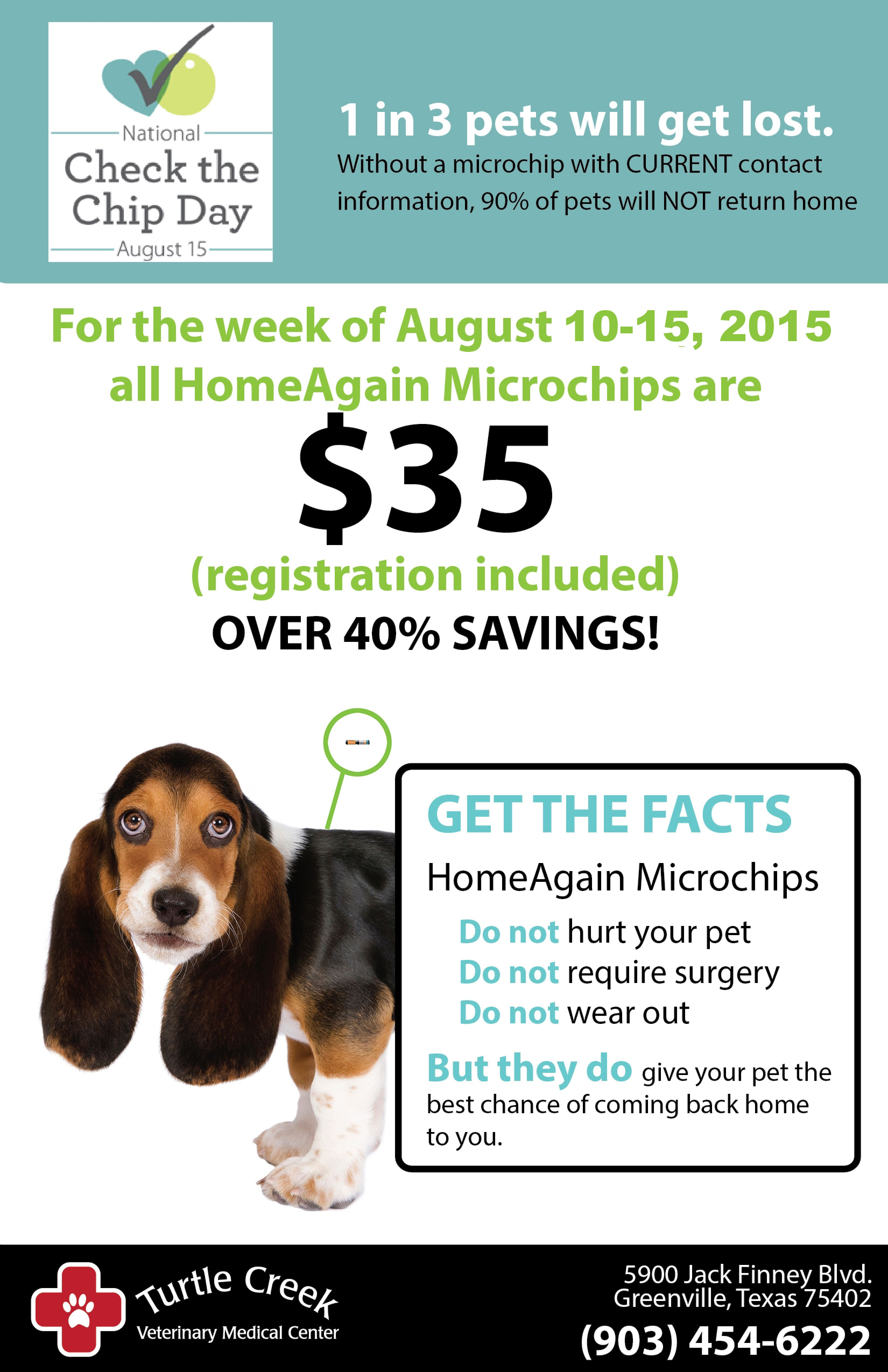 Microchip your pet! Next week, in honor of Check the Chip