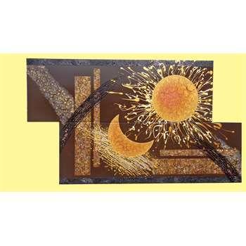 Quadri moderni sole e luna materico acrilico su tela for Quadri moderni a rilievo