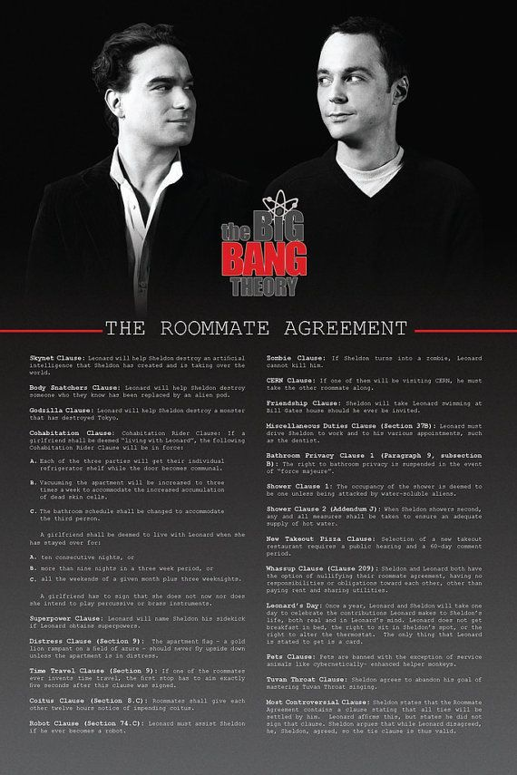 The Roommate Agreement  Roommate Agreement Roommate And Big Bang