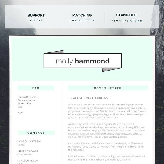 Creative CV Template Matching Cover Letter Application Porfalios - cover letter application