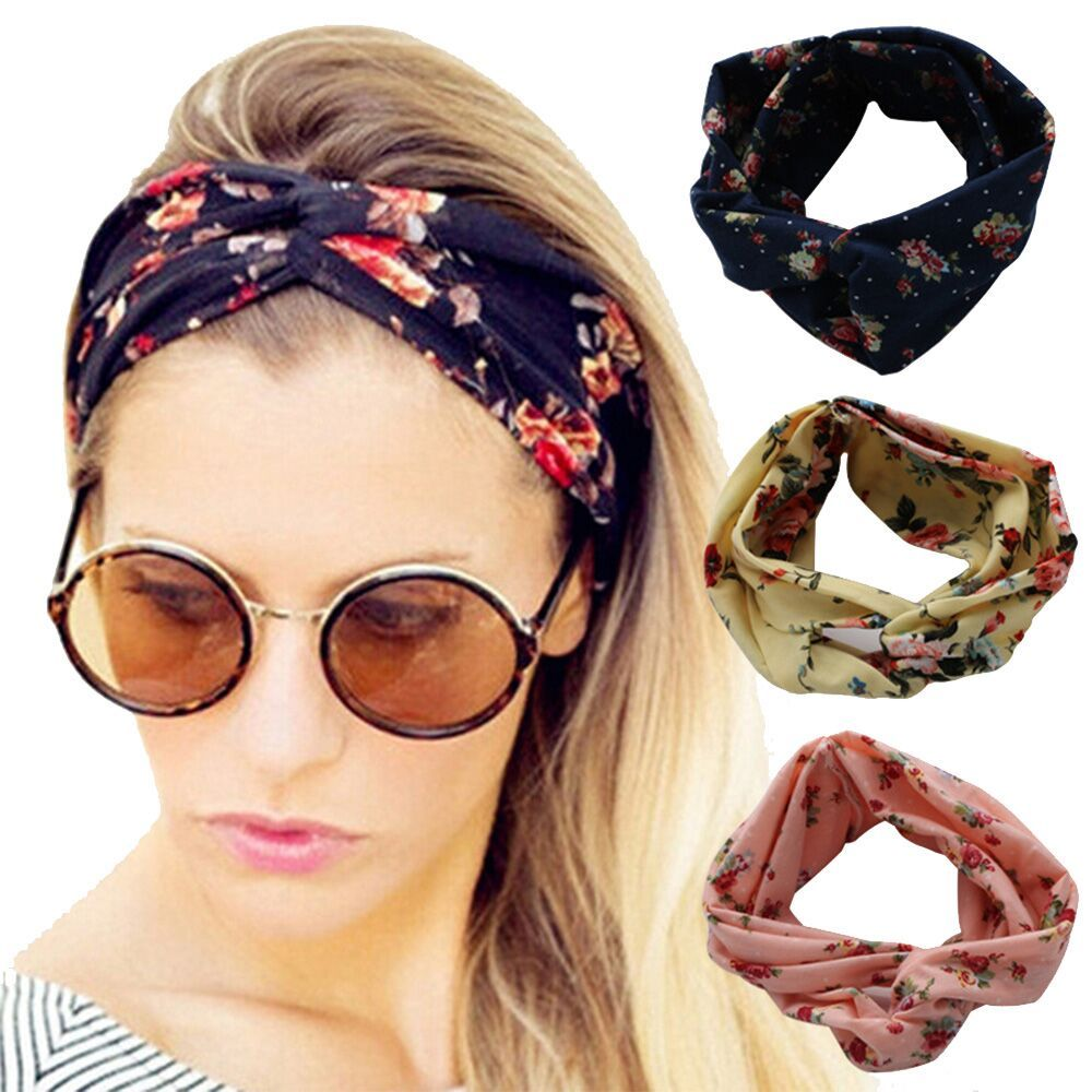 Womens Girls Elastic Yoga Floral Twisted Cross Knotted Turban Hair Band Headband