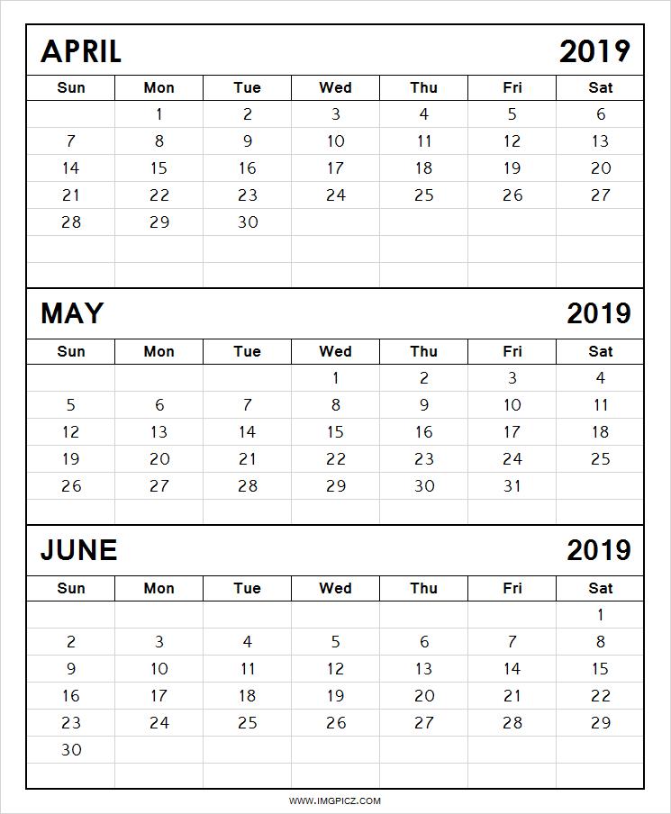April May June 2019 Calendar Blank April May June 2019calendar