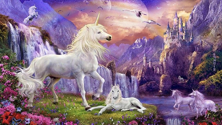 Fantasy Wallpaper Hd Unicorns Horse Castles Waterfalls Mountains Flowers Birds Unicorn Backgrounds Unicorn And Fairies Unicorn Horse