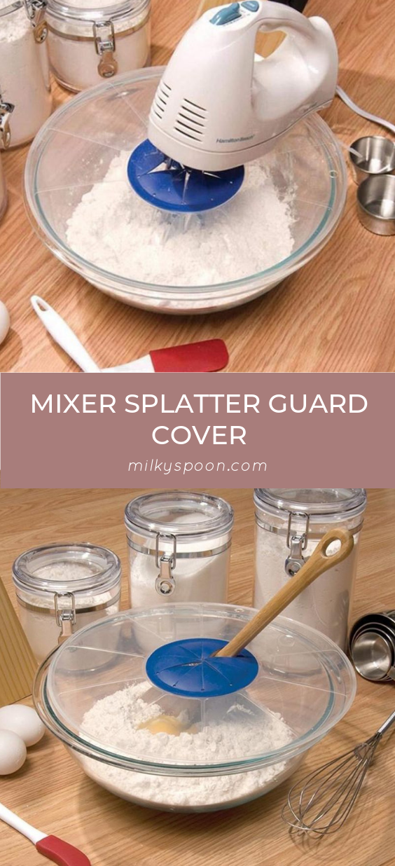 Avoid mixing mishaps and protect your kitchen counter from Splatter! The Mixer Splatter Guard Cover allows you to keep your kitchen mess free from mixing mishaps! Also, this innovative Splatter Guard Cover operates as a lid, containing the ingredients inside the bowl as you mix. #keepitclean #kitchenessentials #lessmess #messfreekitchen #mixercover #mixersplatterguardcover #splattercover #splatterguardcover #spotlesskitchen