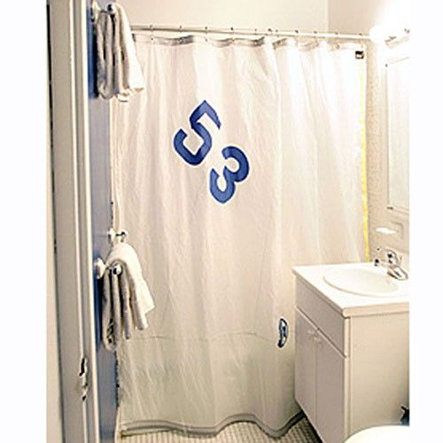 Recycled Sailcloth Shower Curtain Blue Number Or House