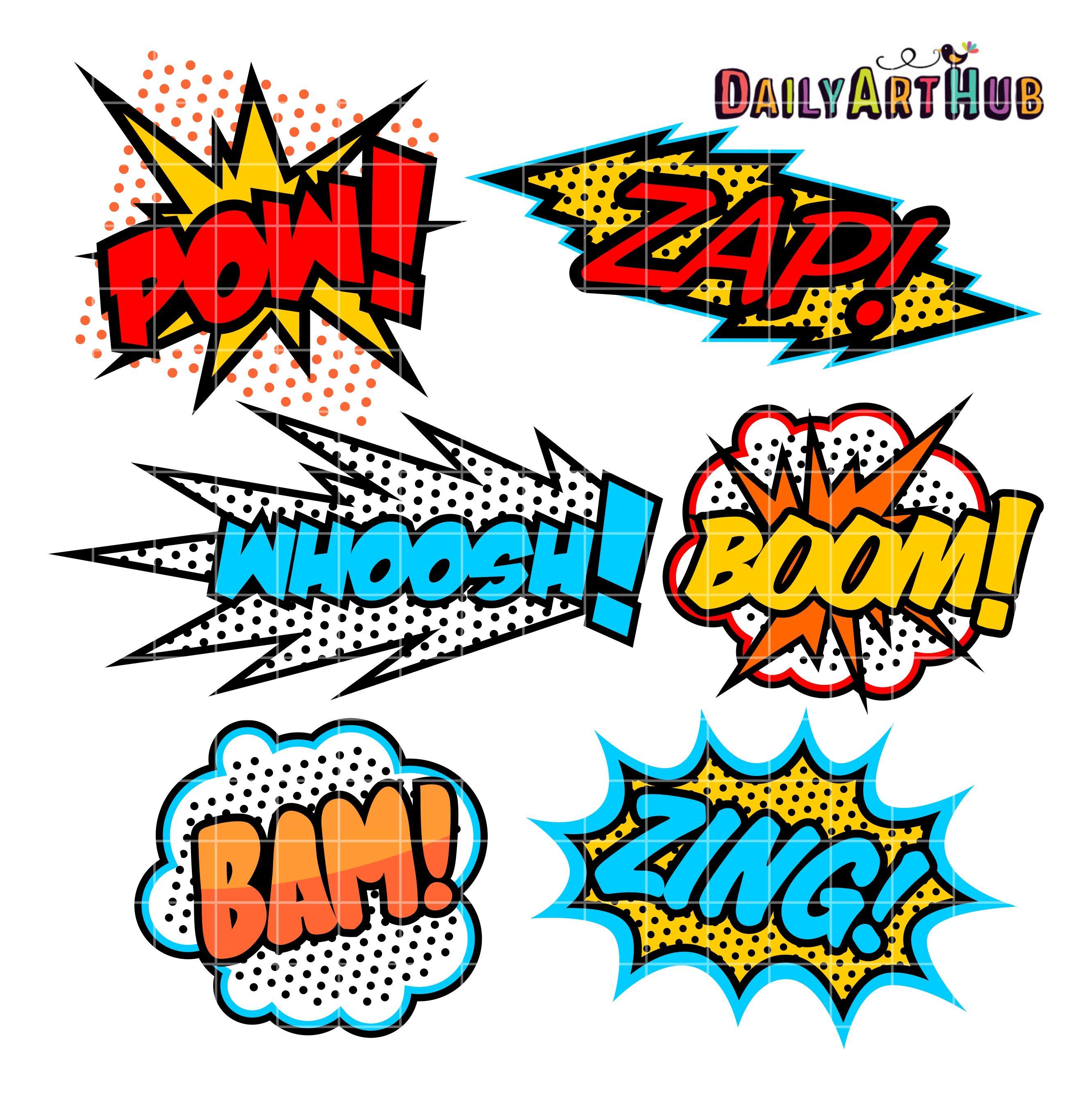 Superhero Callout Clip Art Set Art Superhero Art