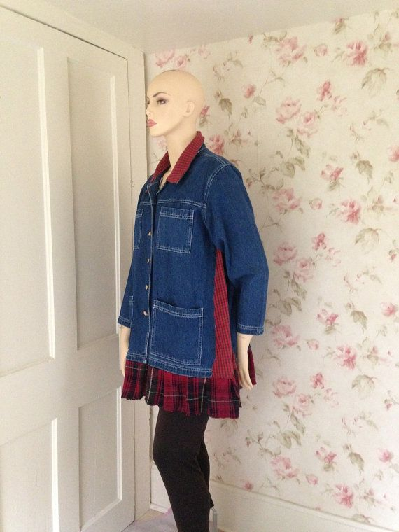 Upcycled Denim Jacket Blue Denim and Red by SWEETBEARIESVINTAGE