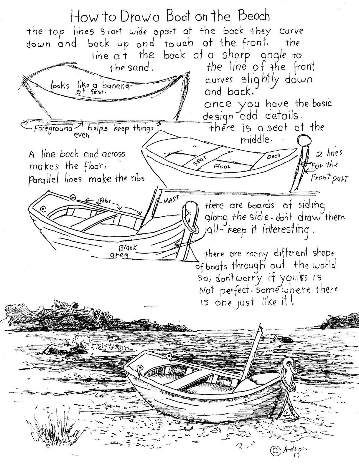How To Draw A Boat On A Beach Printable Worsheet