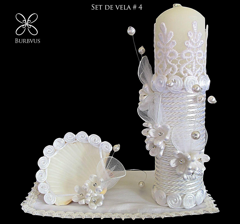 Set de vela para bautizo modelo 4 en blanco religiosa - Decoracion de velas para bautizo ...