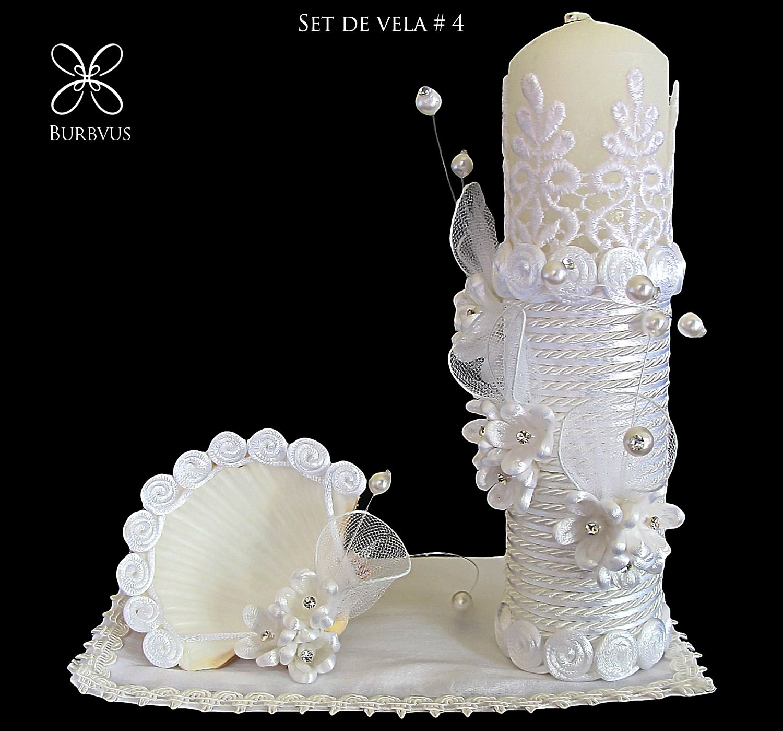 Set de vela para bautizo modelo 4 en blanco