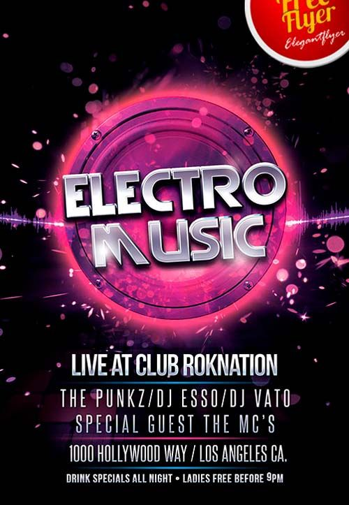Free Electro Music Psd Flyer Template - Http://Freepsdflyer.Com