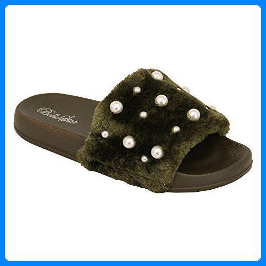 Damen flach ohne Bügel Kunstpelz Schieber Perle Sandalen Sommer Pantoffeln Design - grün - 5837, 3 UK
