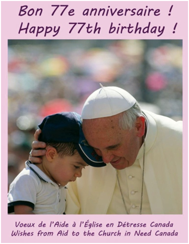 Grzegorz Galaska Acns Birthday Card For Pope Francis Acn Special