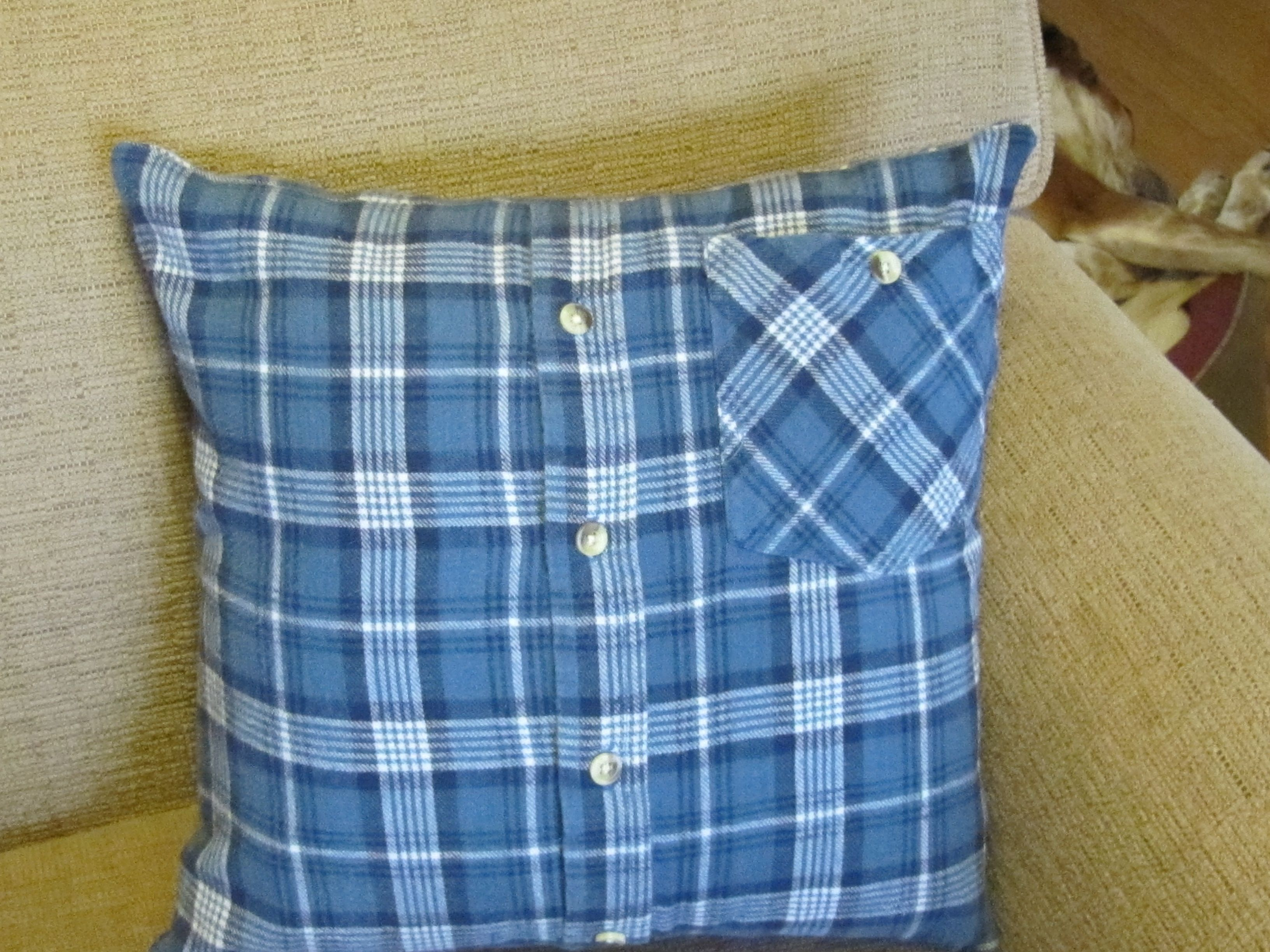 flannel shirt pillow - made for a friend out of her ...