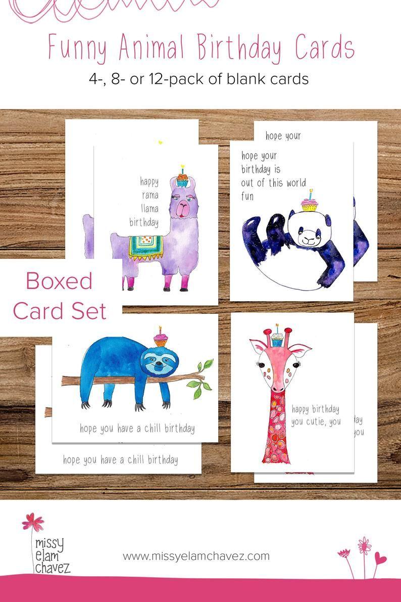 Funny Animal Birthday Boxed Card Set Llama Giraffe Panda And Sloth Available In 4 8 Or 12 Packs Blank Birthday Cards For Kids Kids Birthday Cards Animal Birthday Blank Birthday Cards
