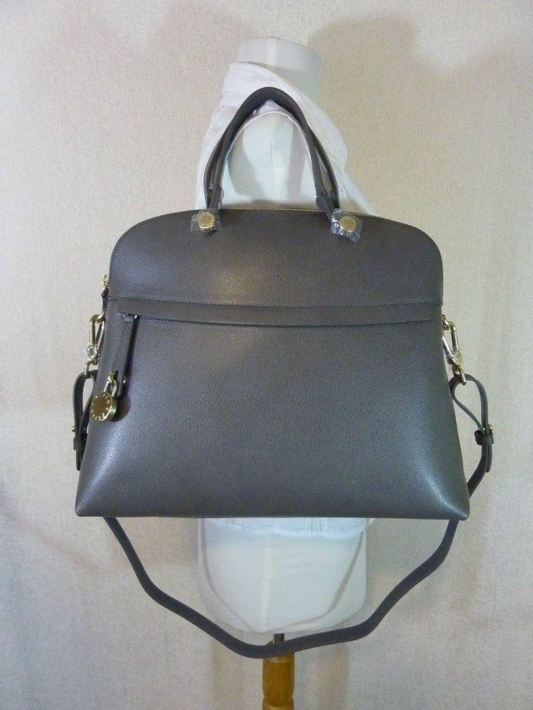 ef3526b56cdad NWT FURLA Mist Gray Saffiano Leather Piper L Bugatti Bag  498 - Made in  Italy  Furla  Satchel