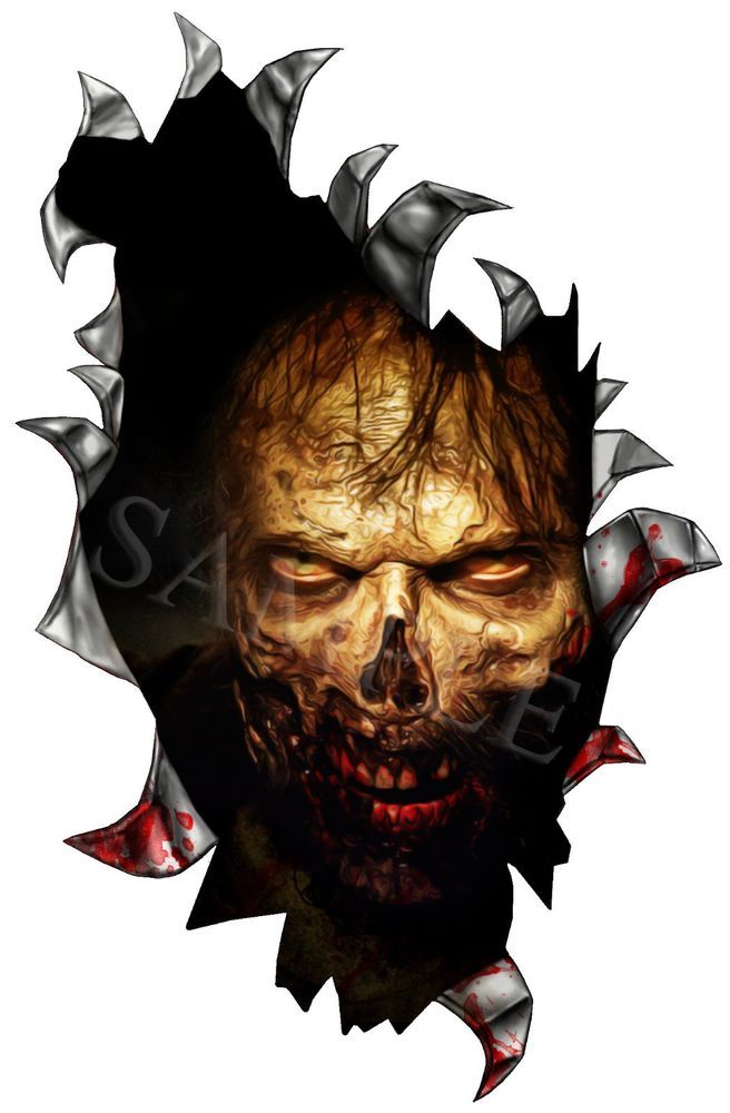 THE WALKING DEAD ZOMBIE RIP HOLE VINYL STICKER DECAL WINDSCREEN - Vinyl decals for cars uk